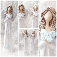 Anděl 38 cm - s modrými motýlky