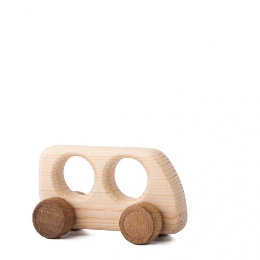 Dřevěná hračka na kolečkách - Autíčko Matýsek
