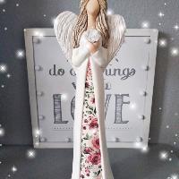 Anděl 38 cm - s potiskem růží