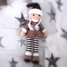 Háčkovaná vánoční panenka Rozárka 41cm