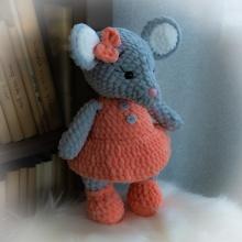 Háčkovaná myška Rózinka 35cm