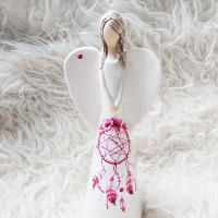 Anděl 21 cm - s červeným lapačem zlých snů