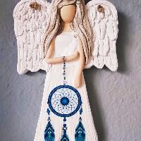 Anděl 22 cm s modrým lapačem zlých snů II.