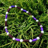 Korále dřevěné fialová+hnědá+béžová