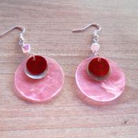 Náušnice perleť růžová+přírodní+červená (124/19)