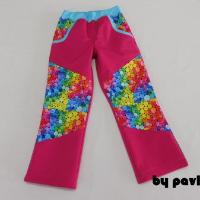 Jar.-podz. klasické softshellové kalhoty - Malina + Barevná kolečka