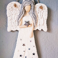 Anděl 22 cm s hvězdičkami