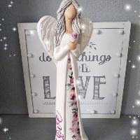 Anděl 38 cm - s potiskem růží Love