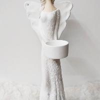 Anděl 36 cm - světlonoš bílý, lehce postříbřené šaty, kamínky, světlé vlásky.