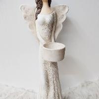 Anděl 36 cm - světlonoš přírodní