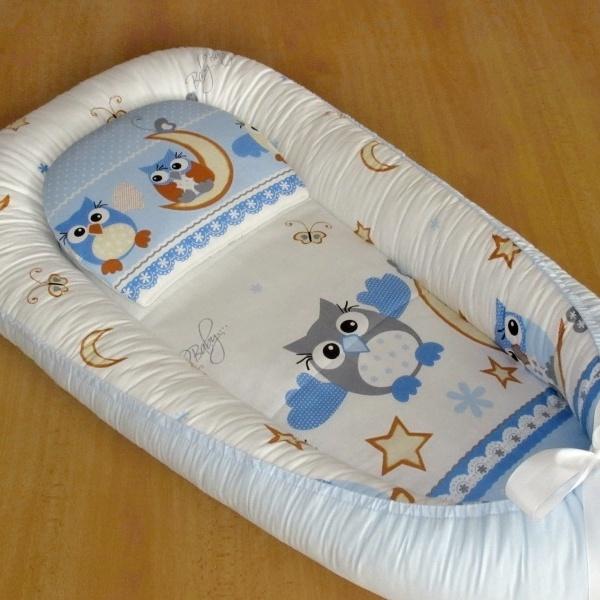 Hnízdečko podložka polštářek sovičky modré