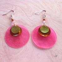Náušnice perleť růžová+hnědá+zelenkavá (119/19)