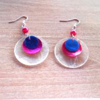 Náušnice perleť bílá+růžová+modrá (127/19)