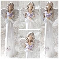Anděl 38 cm - s fialovými motýlky