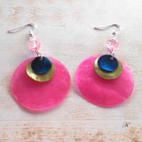 Náušnice perleť růžová+zelenkavá+modrá (132/19)