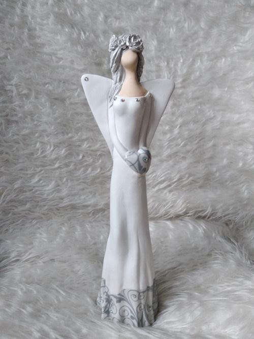 Anděl 36 cm - stříbrná Abella