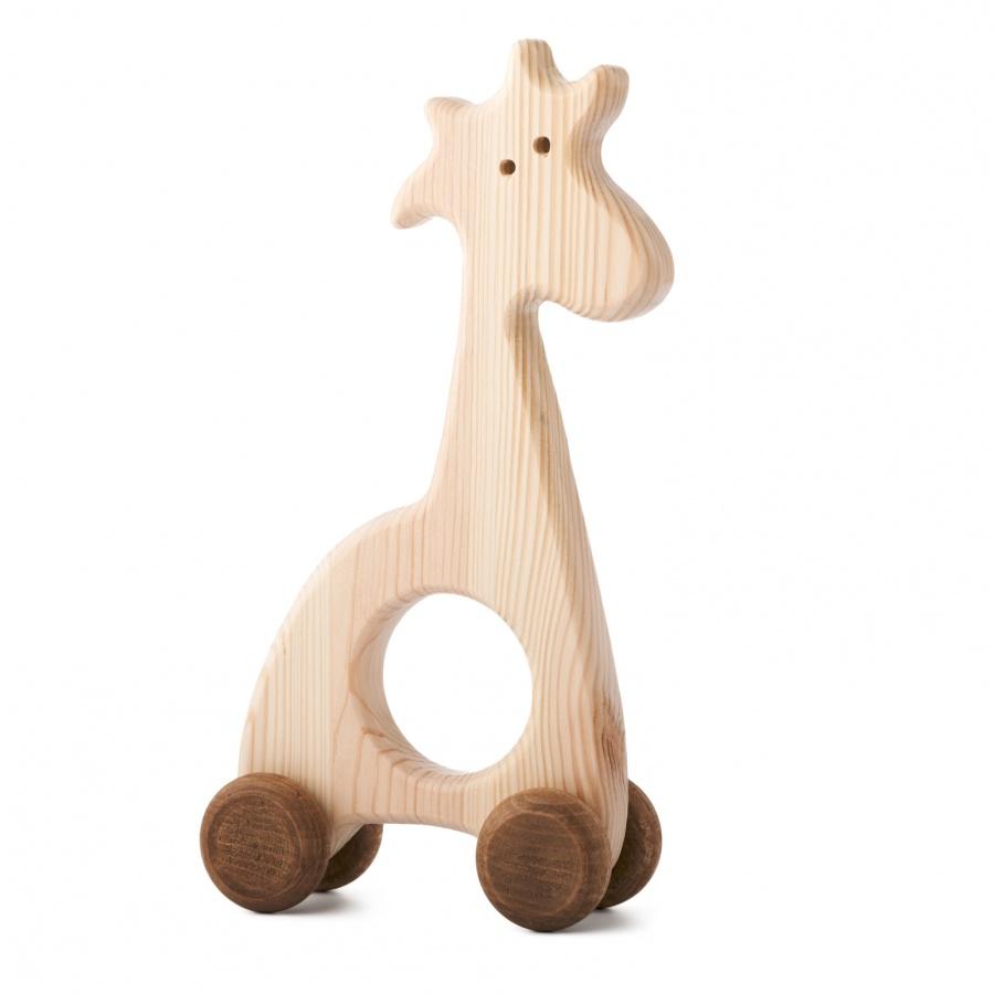 Dřevěná hračka na kolečkách - Žirafka Jozefka