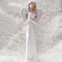 Anděl 38 cm - s růžovými motýlky