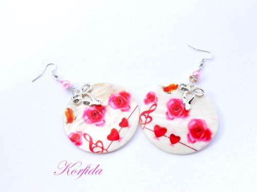 Náušnice perleť bílá, růžová, červená a mašlička