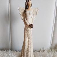Anděl 36 cm - přírodní s hnědým srdíčkem