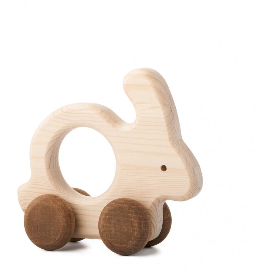 Dřevěná hračka na kolečkách - Zajíček Tomíček