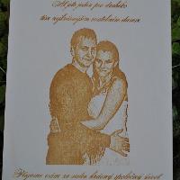 Dřevěné přání pro novomanžele