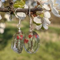 Lišejník dutohlávka - stříbrné náušnice