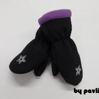 Dívčí softshellové rukavice - Hvězdička s fialovou
