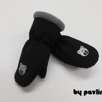 Dětské softshellové rukavice - Medvídek se šedou