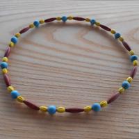 Korále dřevěné hnědá+modrá+žlutá (67/19)
