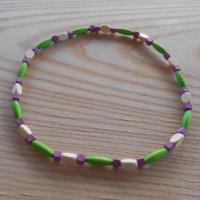 Korále dřevěné fialová+béžová+zelená (77/19)