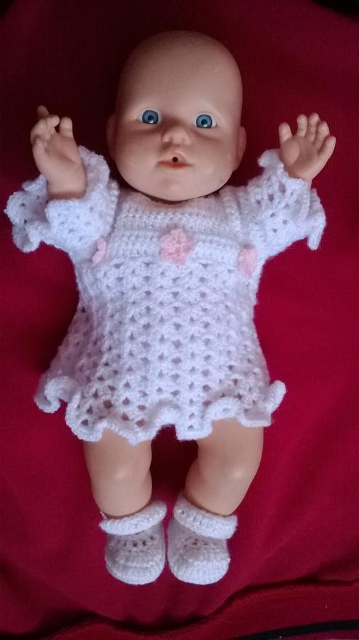 Háčkované šatičky + balerínky na panenku 30cm.