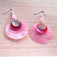 Náušnice perleť růžová+růžová+zelenkavá (128/19)