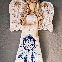 Anděl 22 cm s modrým lapačem zlých snů