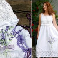 Boho šaty s levandulí