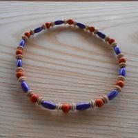 Korále dřevěné fialová+béžová+cihlová (75/19)