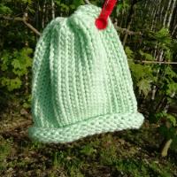 Pletená čepice skladem mentolová