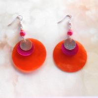Náušnice perleť oranžová+růžová+přírodní (112/19)