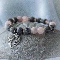 Náramek z minerálních kamenů s Andělskými křídly