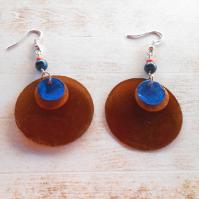 Náušnice perleť hnědá+oranžová+modrá (121/19)