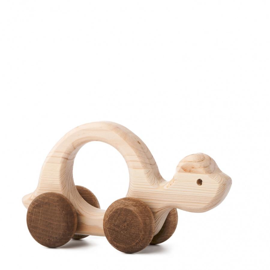 Dřevěná hračka na kolečkách - Želva Elva