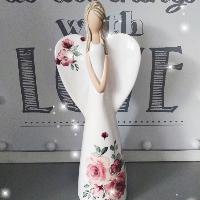 Anděl 21 cm - s potiskem růží