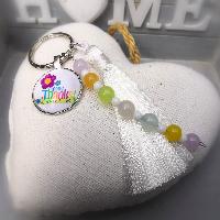 Přívěsek na klíče s minerálními kameny pro paní učitelku