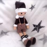 Háčkovaný vánoční panáček Filip 41cm