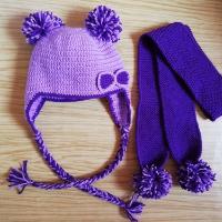 Háčkovaná ušanka + pletená šála