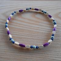 Korále dřevěné béžová+modrá+zelenkavá+fialová (80/19)