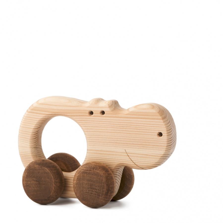 Dřevěná hračka na kolečkách - Hrošice Alice