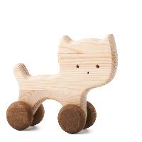 Dřevěná hračka na kolečkách - Kočička Nelinka
