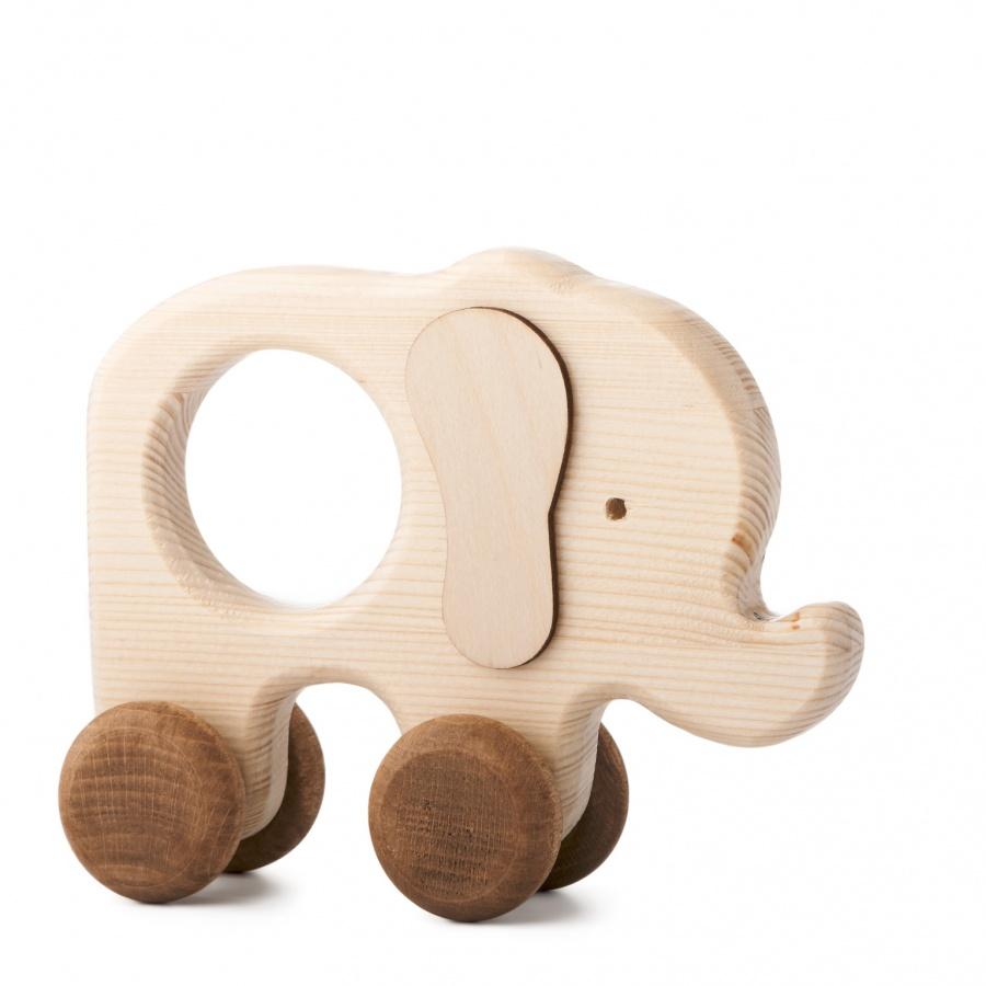 Dřevěná hračka na kolečkách - Sloník Toník