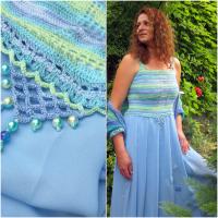 Šaty jak z barev moře...s plédem